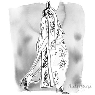 Black & white illustration of a fabulous floral coat