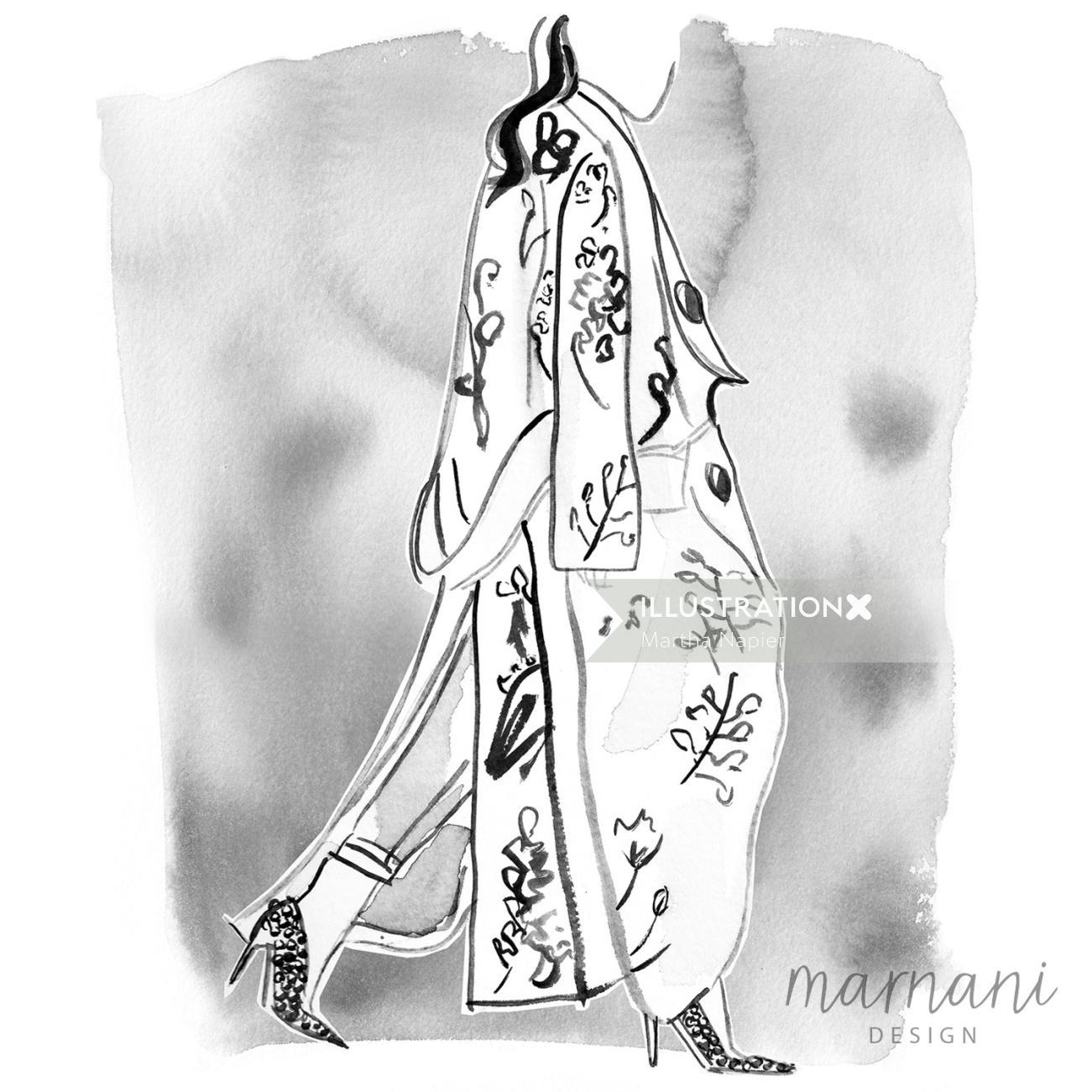 Black & white illustration of a fabulous floral coat