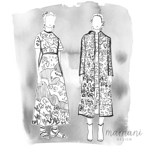 A black and white illustration for the Couture Coloring Book