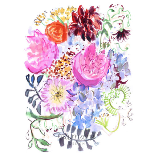 Wild flowers illustration | whimsical floral style gallery