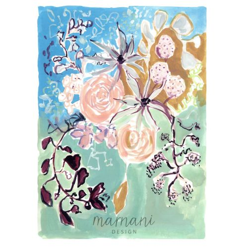 Whimsical, Colorful, Florals, Wildflowers, Blue, Green, Ochre