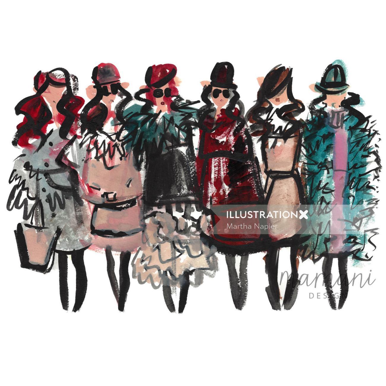 Fashion, Whimsical, Gestural, Figures, Fashion Forward, Runway, Blogger, Editors