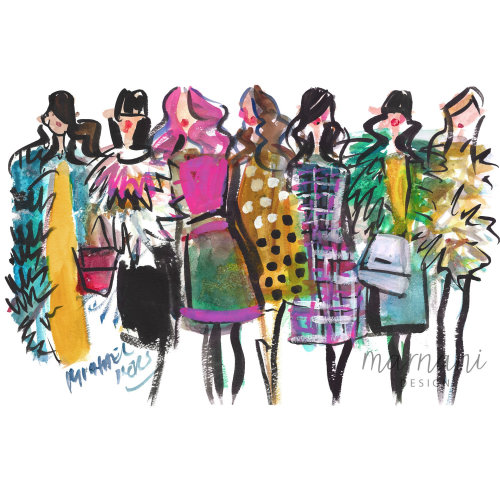 Women fashion week illustration by Martha Napier