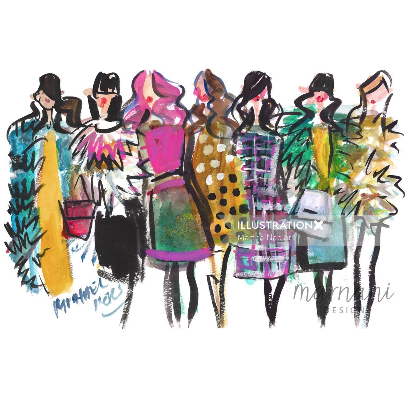 Women fashion week illustration by Martha Napier