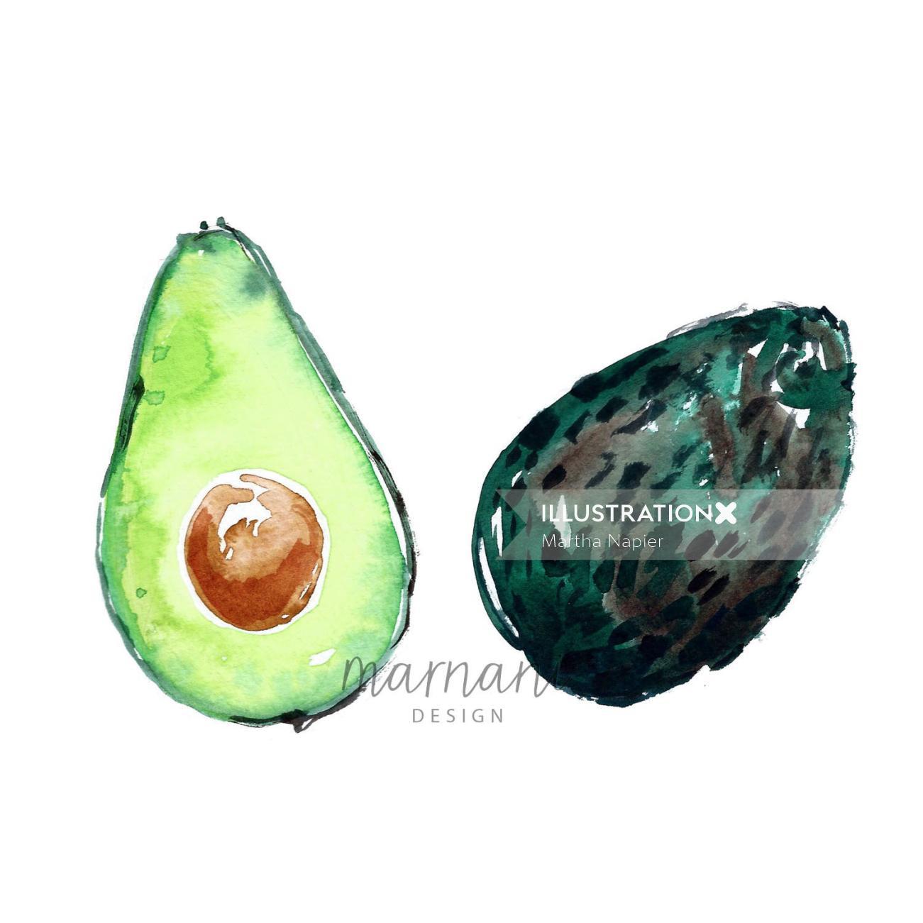 artwork of Avocado Halves