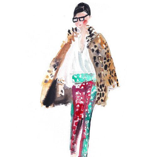 An illustration of Jenna Lyons walking for fashion week