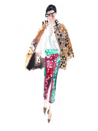An illustration of Jenna Lyons walking for fashion week