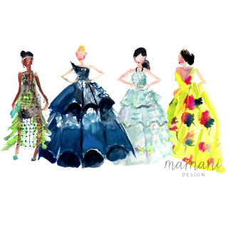 Women fashion illustration for Art Gala by Martha Napier
