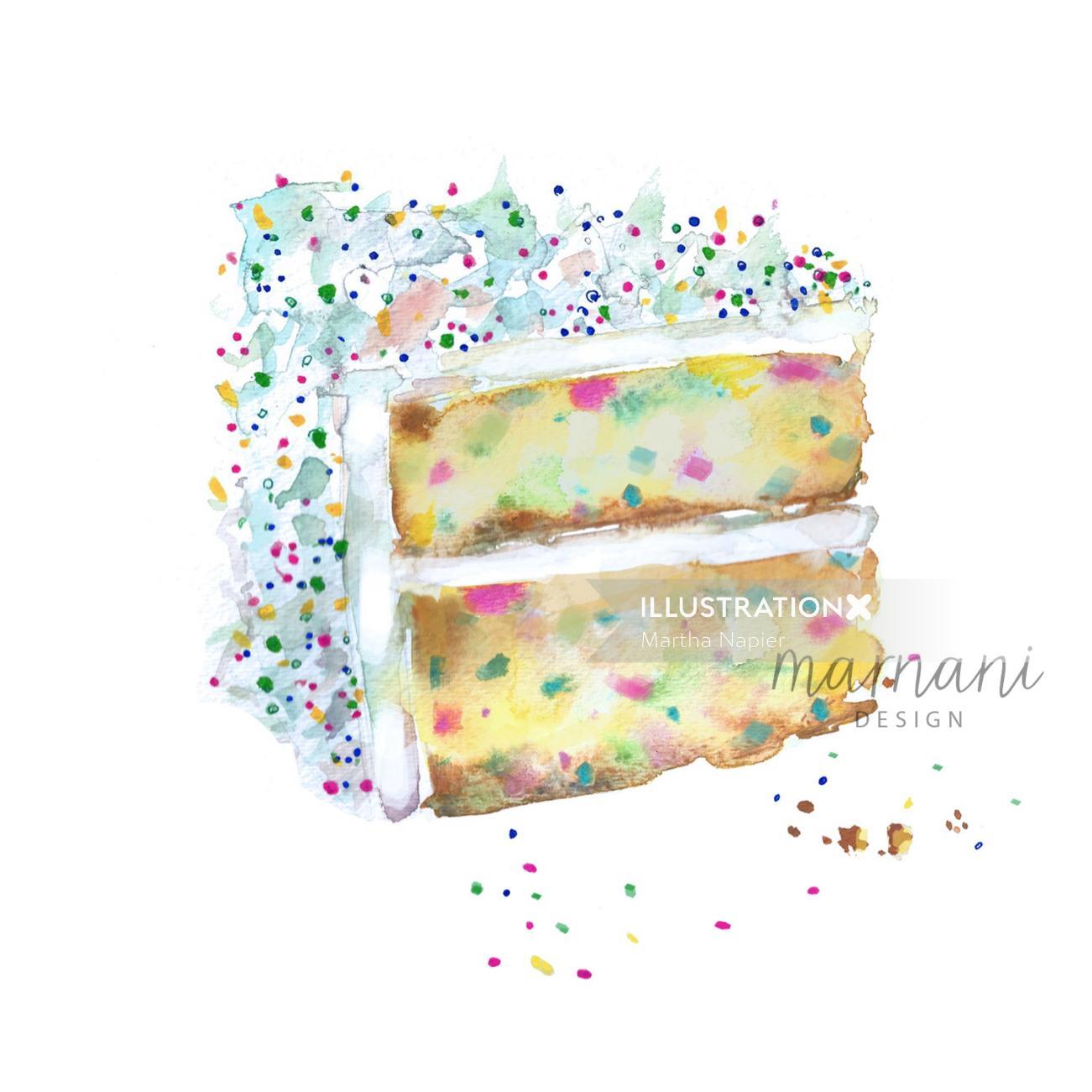 watercolor art of Funfetti Layer Cake