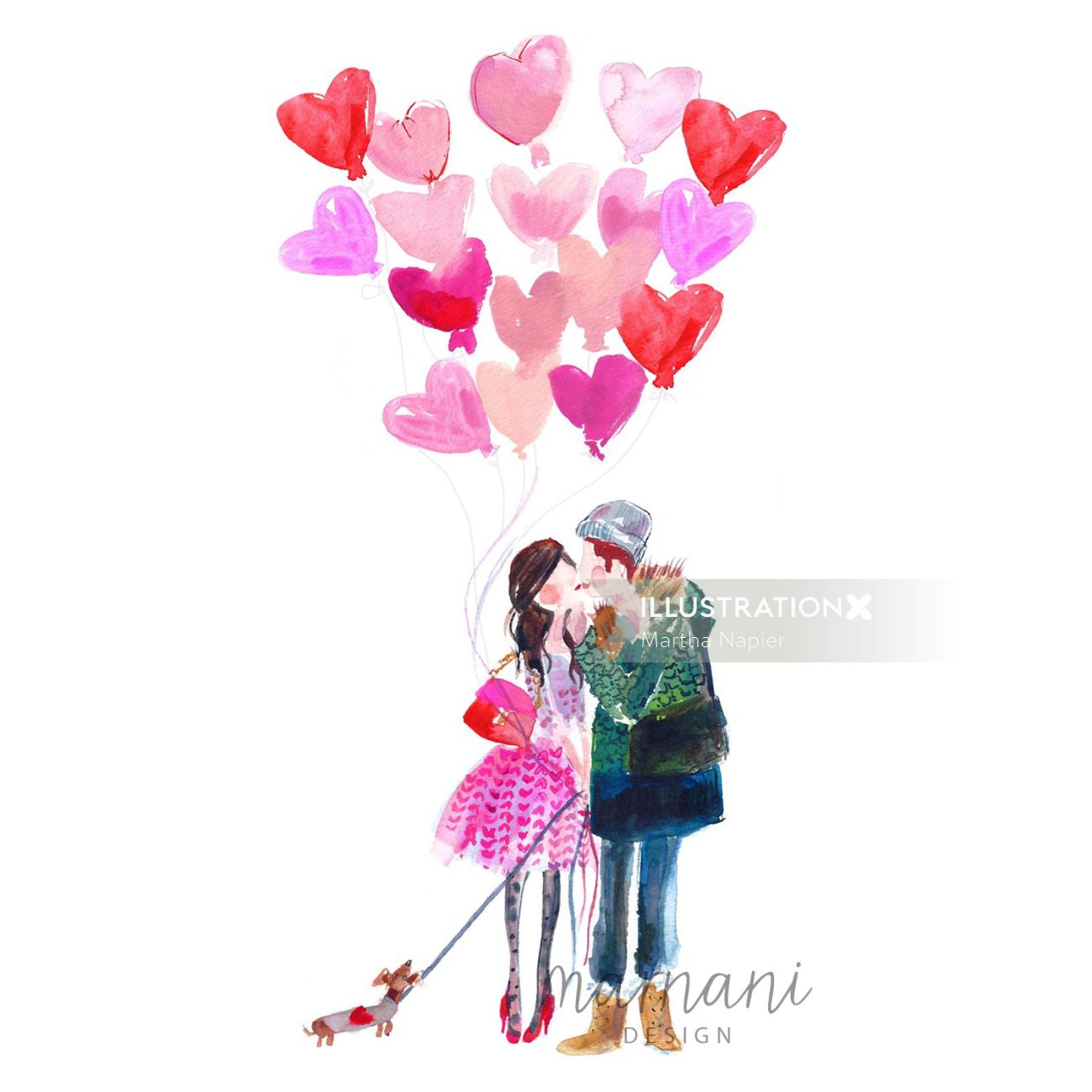 An illustration of couple expressing their love with heart shape balloons