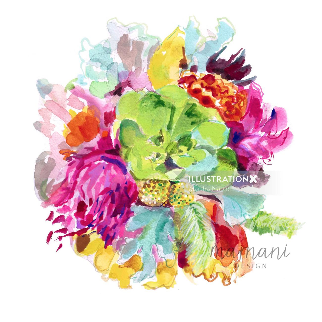 Floral, Tropical, Colorful, Bright, Whimsical, Flower Arrangement
