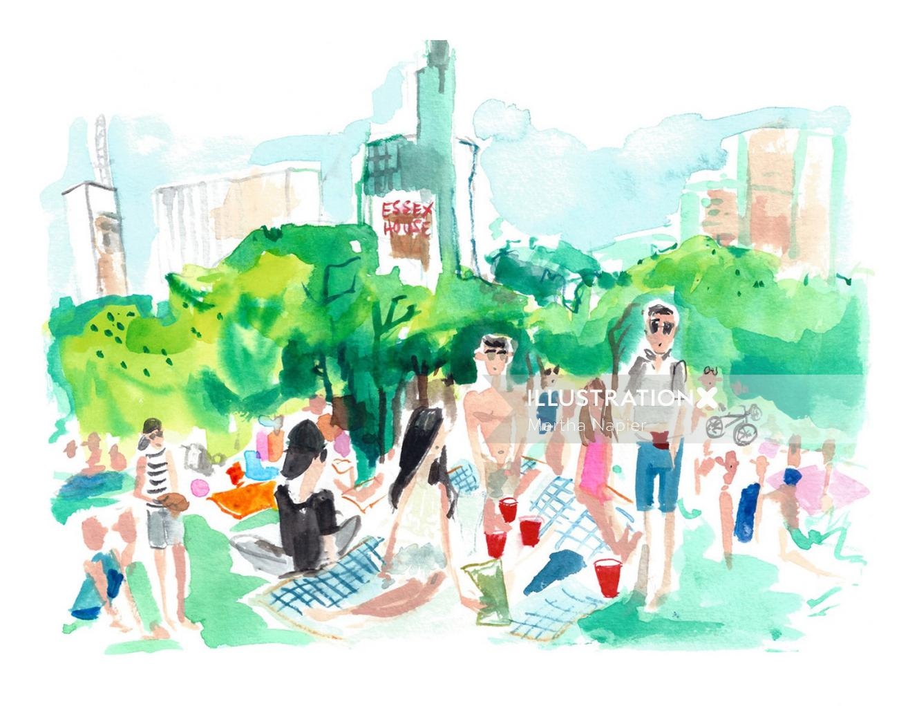 Illustration of New York city's central park