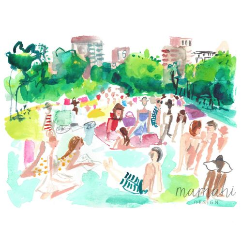 An illustration of scene in New York City's central park