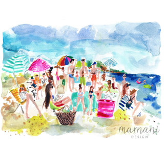 An illustration of people at beach side