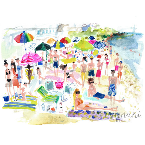 An illustration of people at beach