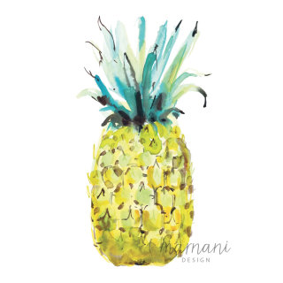 watercolor painting of pineapple