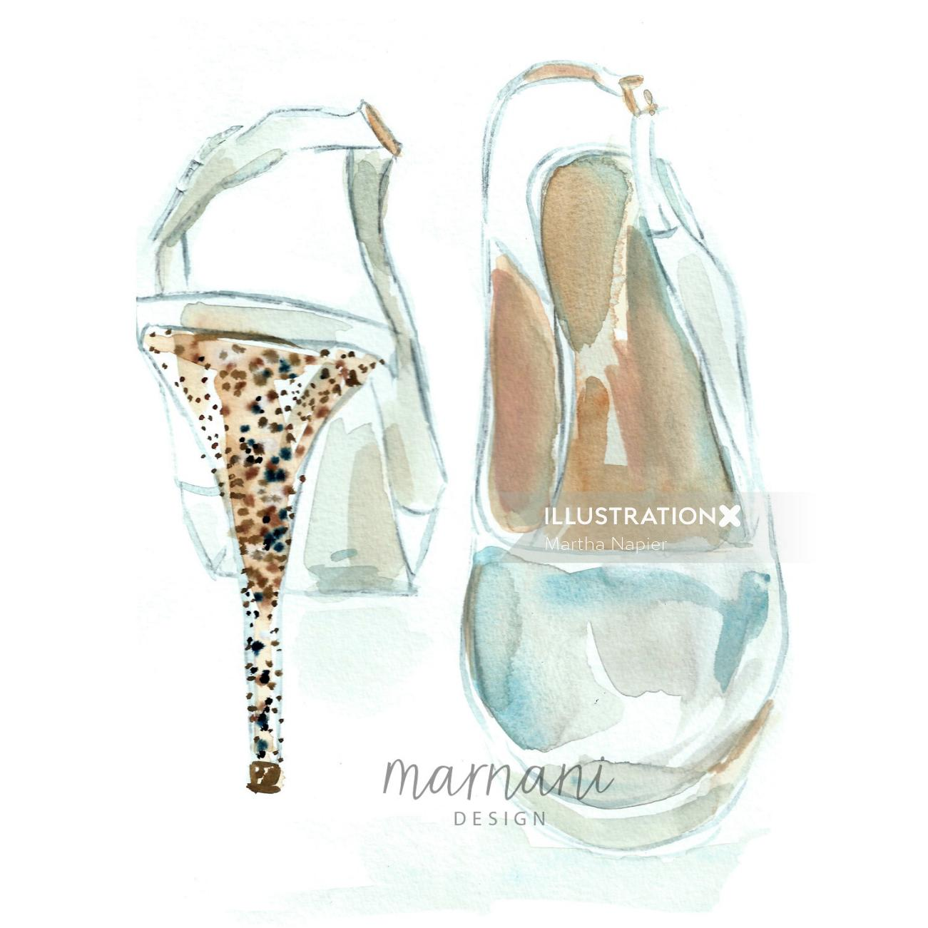 Fashion illustration of Sparkly Heeled Dancing Shoes