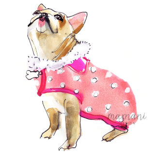 Illustration of pink dressed dog