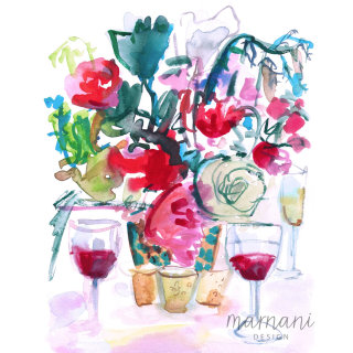 Flowers and wine - An illustration by Martha Napier