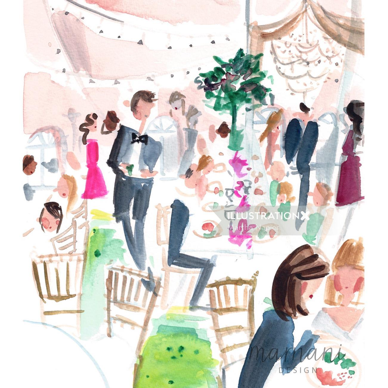 An illustration of scene at a cocktail party