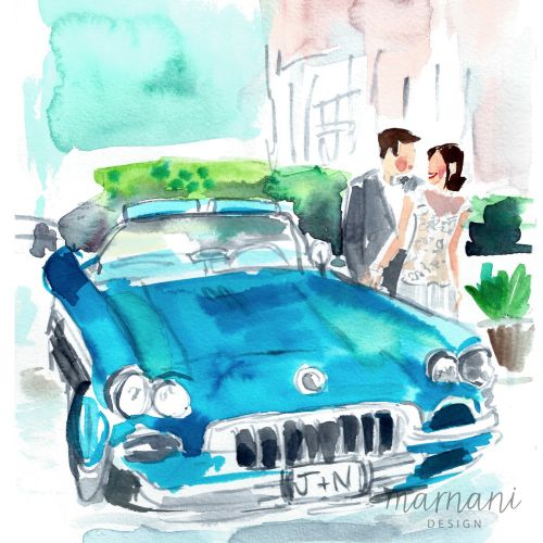 Wedding, Car, Blue, Getaway, Couple, Romance, Love, Event