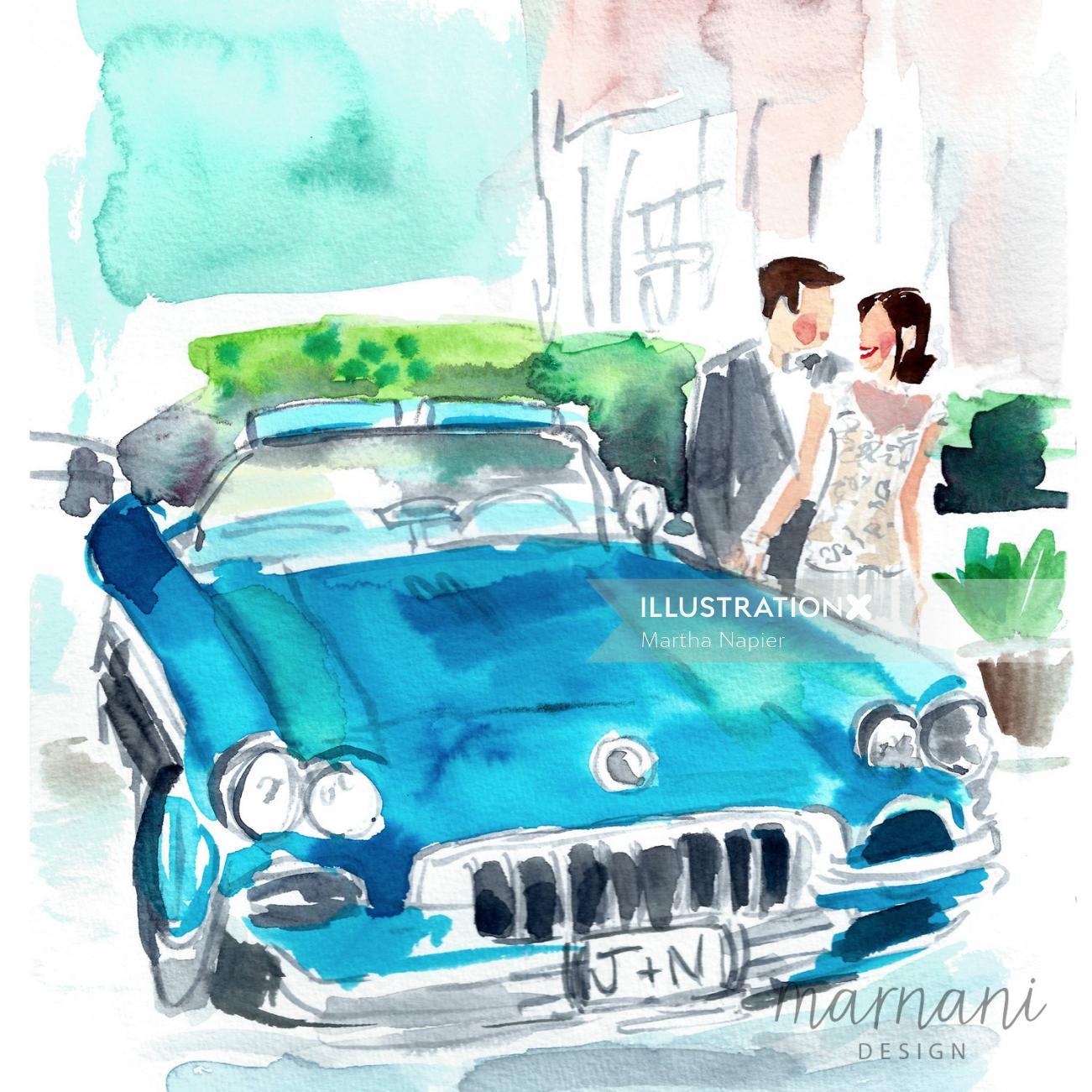Wedding, Car, Blue, Getaway, Couple, Romance, Love, Event