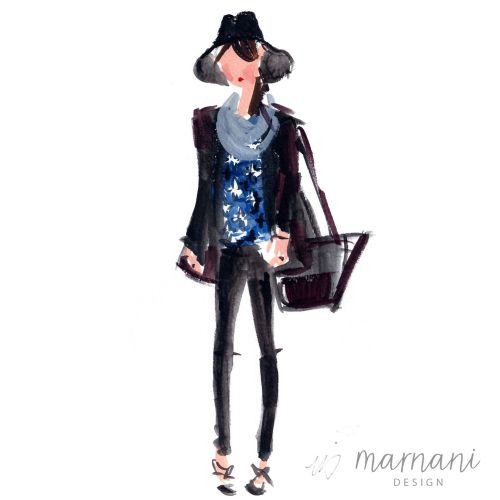 Editor, Fashion Sketch, Hat, Blue, Accessory, Fashion Illustration, Cool Girl, Hip, Loose