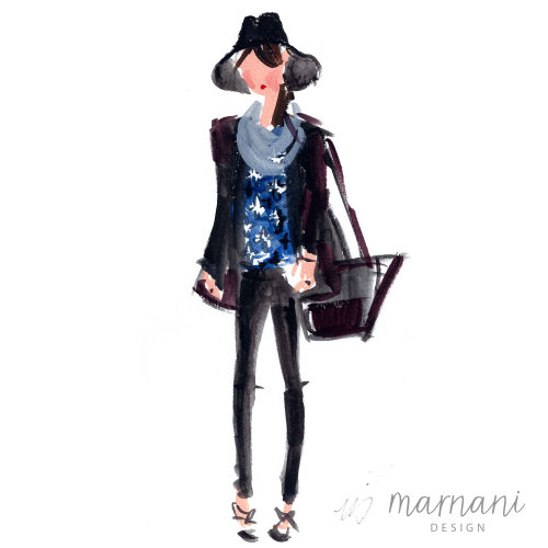 Editor, Fashion Sketch, Hat, Blue, Accessory, Fashion Illustration, Cool Girl, Hip, Loose