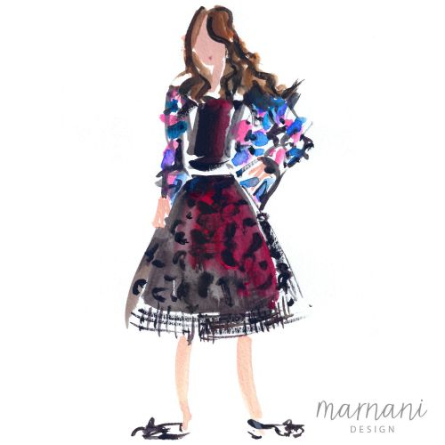 Live fashion portrait illustration by Martha Napier