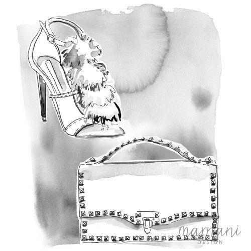 Illustration of black and white shoe and handbag