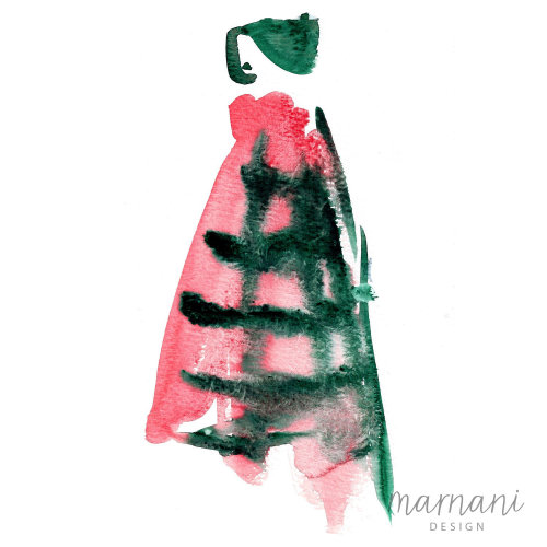 Illustration of  oversized plaid coat