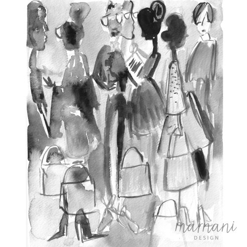 Black & white fashion illustration interm by Martha Napier