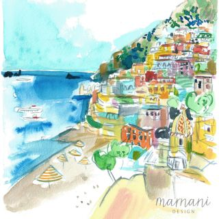 An illustration of a beach scene in Positano
