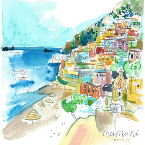 An illustration of a beach scene in Positano