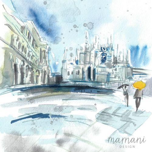 An illustration of raining in milan