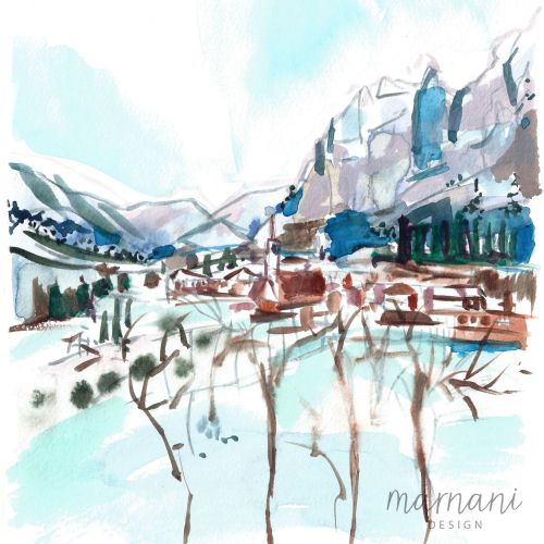 Alps, Switzerland, Mountains, Lodge, Snowfall, Snow, Blue