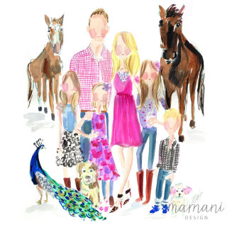 An illustration of family and pet animals