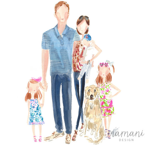 Family, Portrait, Kids, Whimsical, Pets, Dog, Pattern