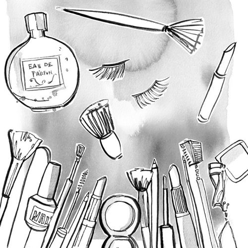 An illustration of beauty products