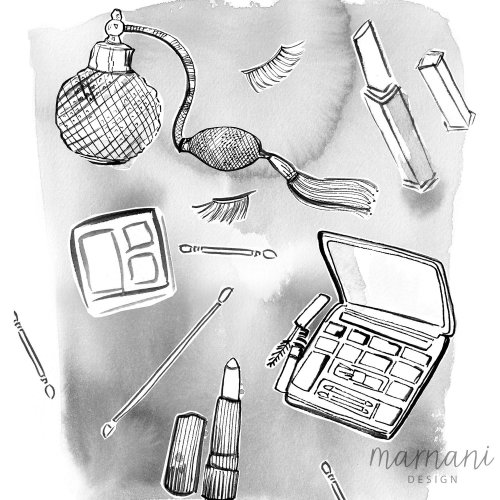 Cosmetic products illustration by Martha Napier