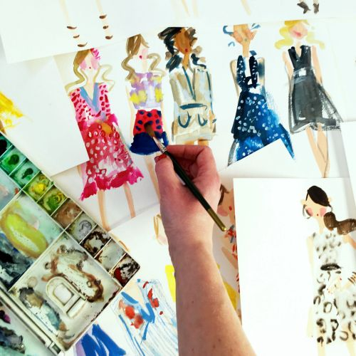 Live fashion drawing illustration