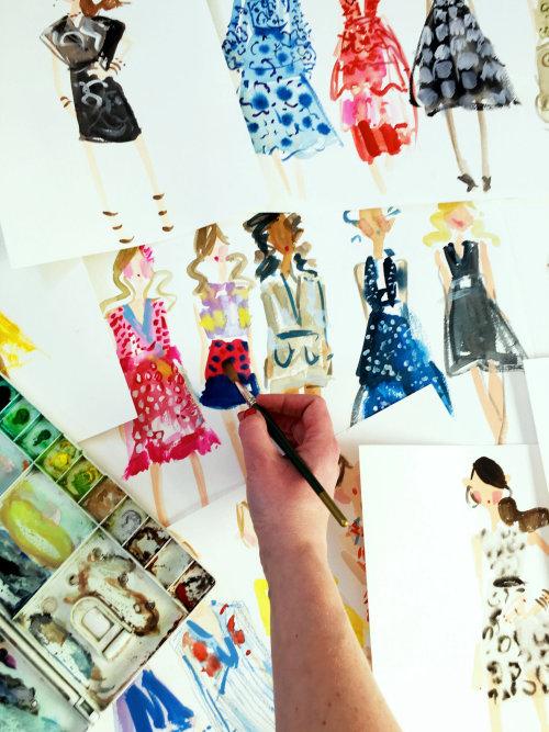 Live fashion drawing illustration