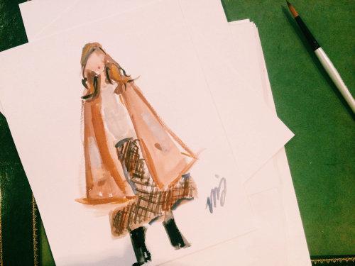 Orange coat live drawing illustration