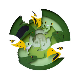 Paper cut illustration of food chain