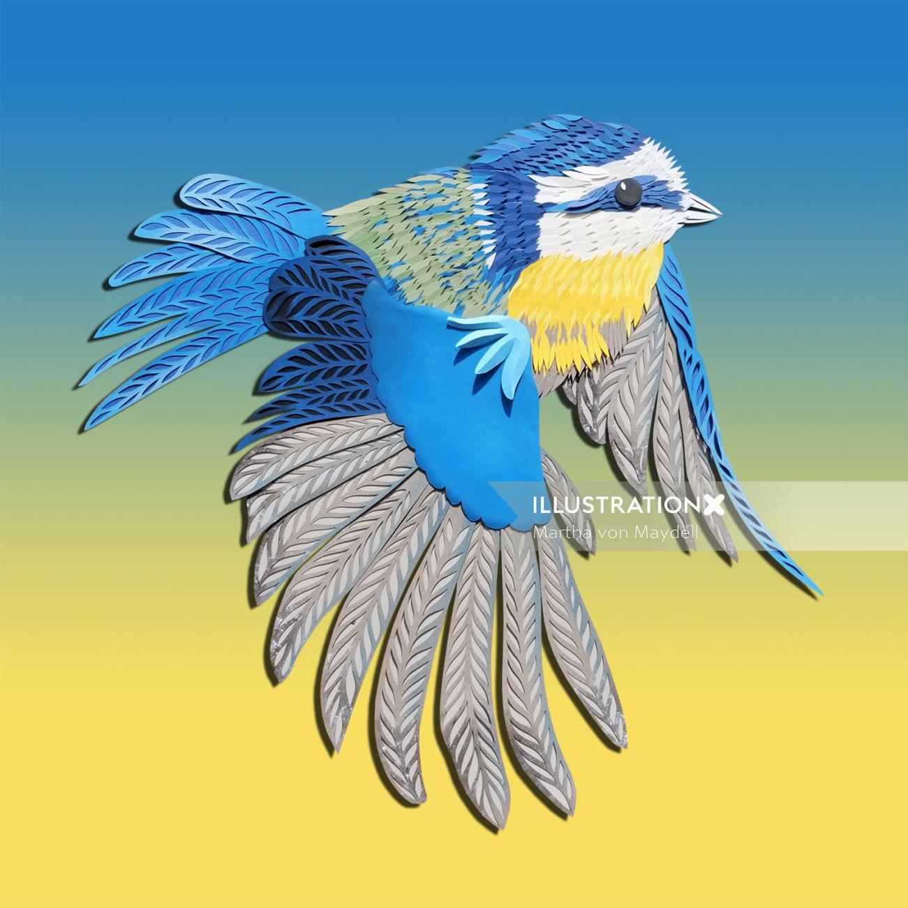 Paper art of bird