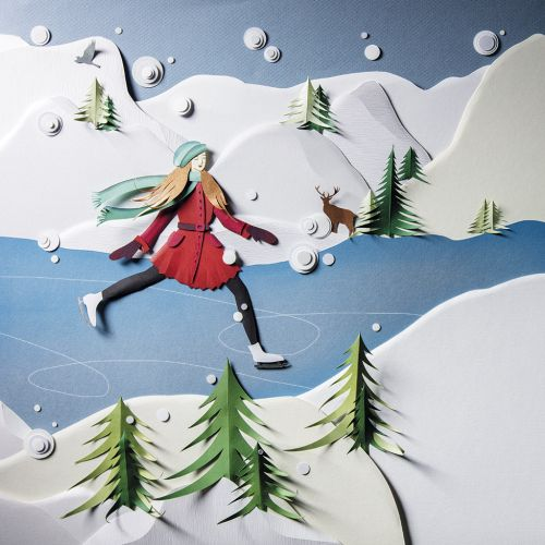 Paper art of snow skating