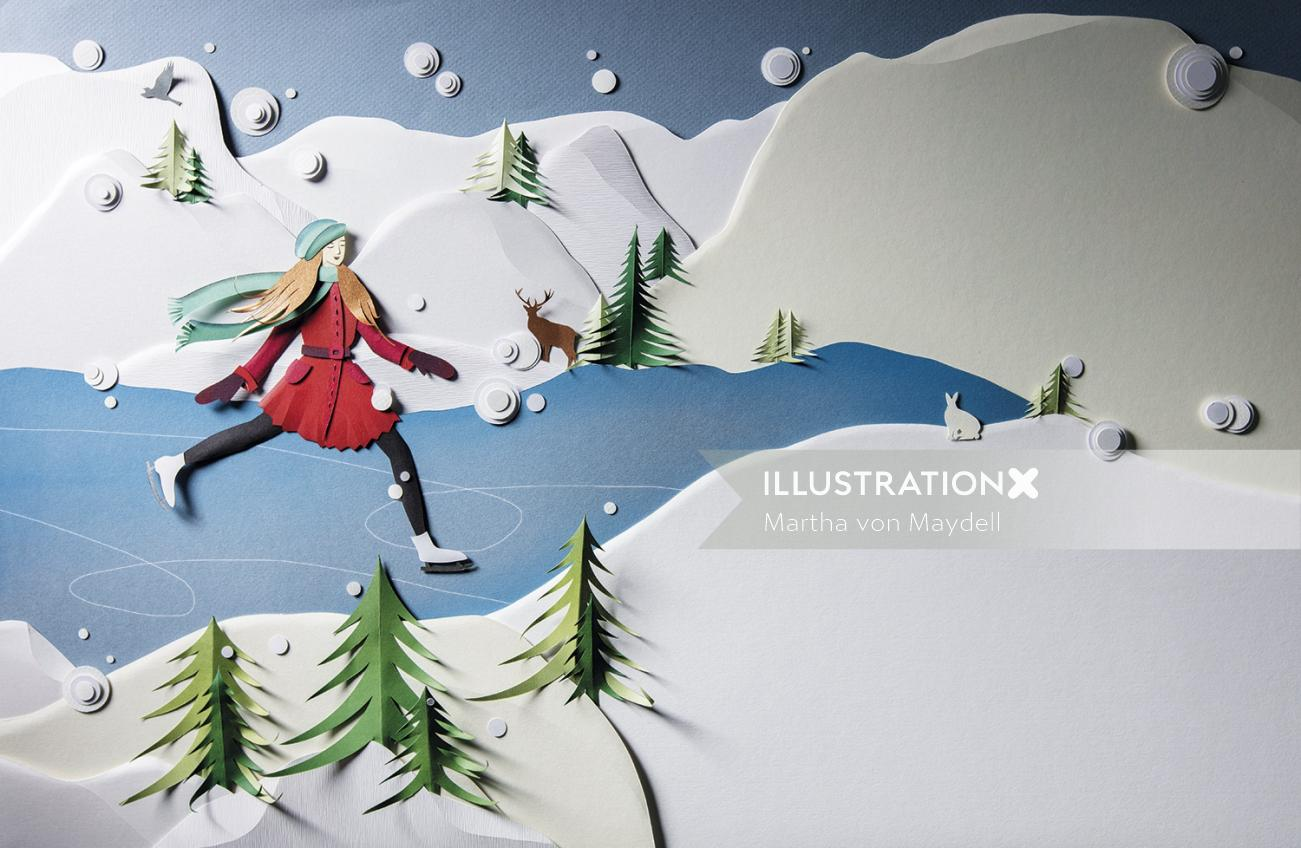 Paper art of snow skating