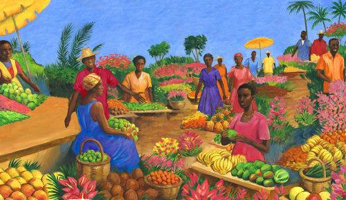 Les gens au marché aux fruits