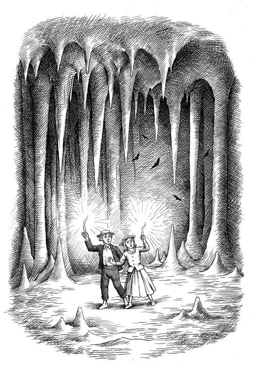 Couple noir et blanc dans la grotte