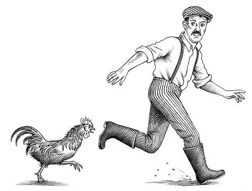 Homme noir et blanc qui court de coq